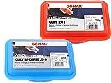 Sonax Clay blau Lackpeeling - Reinigungsknetmasse Mild, 200g + Sonax Clay rot - Reinigungsknetmasse Scharf, 200g, SET