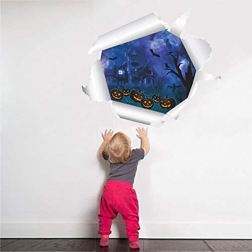 GUDOJK 3D Lebendige Kürbislaterne Durch Wandaufkleber Für Kinderzimmer Halloween Dekoration PVC Wandtattoos Kunst DIY Wandbild Poster