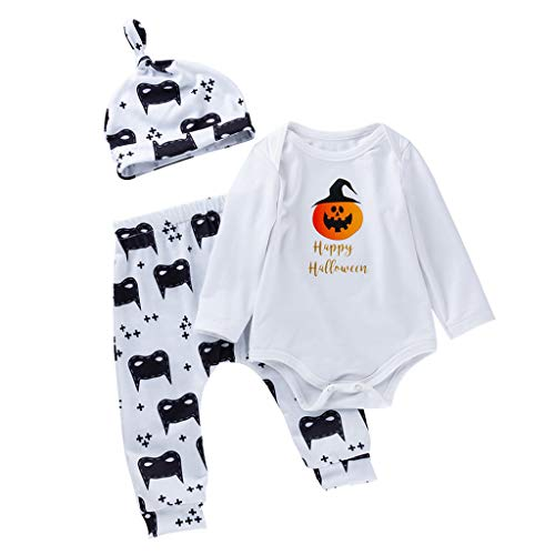 Zirkus Kostüm 3 Ring - ToDIDAF Halloween Kostüm 6M-24M Kinder Langarm Kürbis Brief Drucken Jumpsuit Klettern Kostüm + Cartoon Print Pants + Hut Set Happy Halloween für Halloween Party Festival Karneval Parade Weiß 66