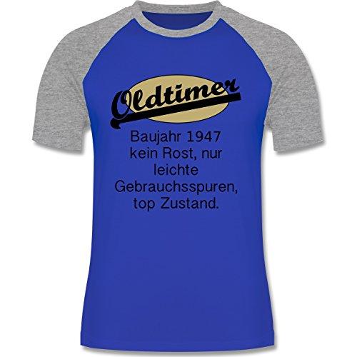 Geburtstag Oldtimer Fun Baujahr 1947 - zweifarbiges Baseballshirt für Männer  Royalblau/