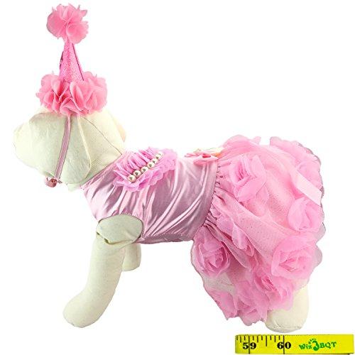 Wiz BBQT Fairy Elegante Sweet Fashion Pink Dog Pet Princess Bride Formelle Rose Tutu Hochzeit Party Kleid Band Schleife Satin Puppy Rock Tuch Kostüm und Passenden Blume Haarband, E, Rose (Mädchen Rosa Rose Fairy Kostüme)