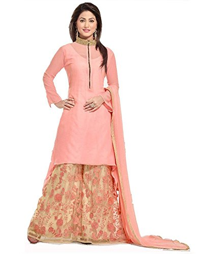 Skyward New Light Pink Georgette Semi Stitched Partywear Wedding Palazzo Style Salwar Suit