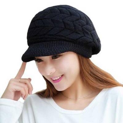 Krystle Women's|Girl's Winter Warm Knit Hat Wool Snow Ski Caps With Visor 41qfI0tEk2L