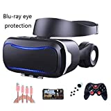 YANJINGYJ 3D VR-Brille Am Kopf montiert Virtual-Reality-Brille, Audiovisuelle Integration Geeignet für 4,7-6,0 Zoll iPhone/Android-Telefone,Black,Package4
