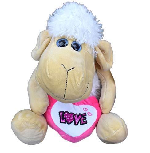 Marabella süßes Schaf mit Herz Plüsch Plüschfigur Kuscheltier Puppe Teddy 42cm, Farbe:pink - Mit Herz Puppen