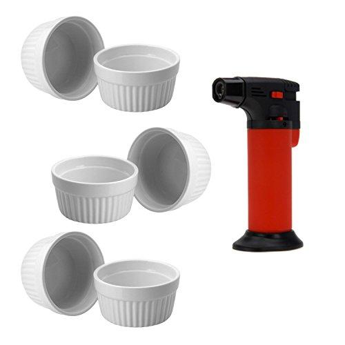 ToCi Creme Brulee Set 13-teilig mit Brenner und 12 weissen Keramik Förmchen 185 ml 13 Souffle