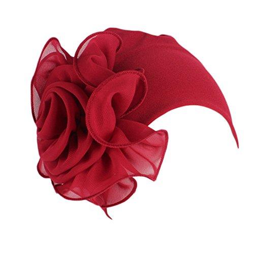 TEBAISE Damen Elegante Weich 3D Blume Chemo Turban Mütze Kopftuch für Chemotherapie Krebs und Haarverlust Weihnachten Karneval