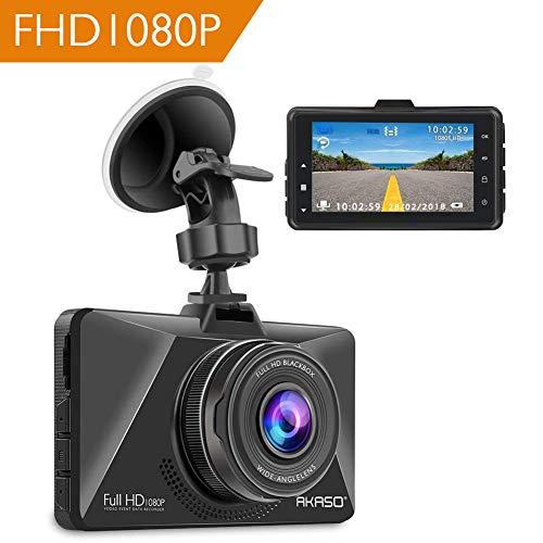 AKASO Dashcam Full HD 1080P Autokamera mit 3 Zoll LCD Bildshirm, 170° Weitwinkelobjektiv Nachtsicht Dash Cam mit G-Sensor, Bewegungserkennung, Parkmonitor, WDR, Loop-Aufnahme (Schwarz)