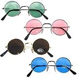 4 x 70 er Jahre Flower Power Hippie Brille farbige Lennon Hippiebrille