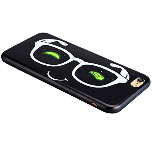 GrandEver iPhone 6/iPhone 6S(4.7 Zoll) Weiche Silikon Hülle Bumper Schwarz Rückschale Schutzhülle mit Muster Ultra Slim Rahmen Leicht Rückseite Schutz Backcover TPU Silicon Cover Tasche Soft Case Weic Brille Lächeln