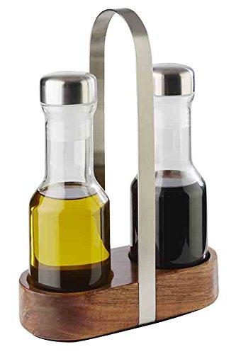 getgastro Essig- & Öl-Menage Wood aus Holz, Glas, Polyethylen & Edelstahl 18/8, matt poliert, Glasbehälter mit Edelstahl-Deckel und Drehverschluss / 16 x 7,5 x 24,5 cm | Sun (Holz-essig)