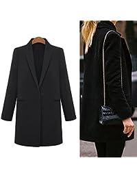 Vktech® Femmes Casual hiver Trench en laine Long revers pour Parka manteau, noir, Taille M