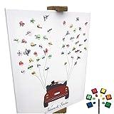 KATINGA Personalisierte Leinwand zur Hochzeit - Motiv Auto (rot) - als Gästebuch für Fingerabdrücke (40x50cm, inkl. Stift + Stempelkissen) (rot)