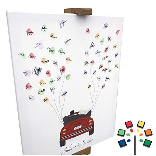 rte Leinwand zur Hochzeit - Motiv Auto (rot) - als Gästebuch für Fingerabdrücke (40x50cm, inkl. Stift + Stempelkissen) (rot) ()