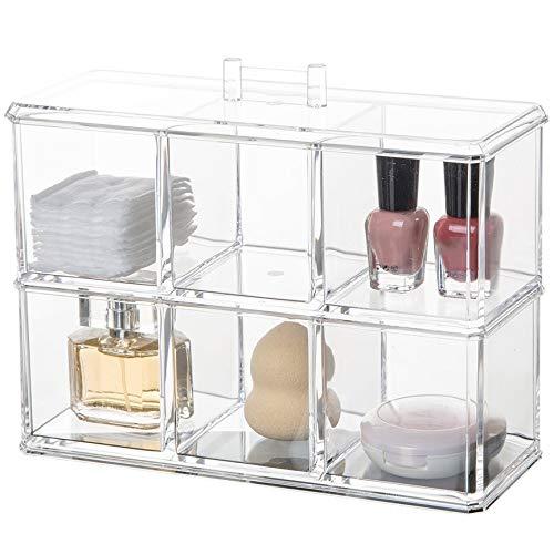 VCB Organisateur cosmétique de Rouge à lèvres de Support de Vernis à Ongles Acrylique Transparent de Multi-Slots - Transparent