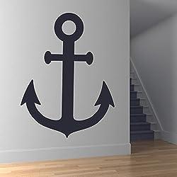Ancla de buques vinilos decorativo Transporte de vela adhesivos pegatina pared Baño Náutico Decoración disponible en 5 tamaños y 25 colores Extra pequeño Brillante Azul