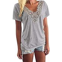 Lanlan Camiseta para Las mujeres, Camiseta de encaje ocasional con cuello en v, camiseta elegante Sexy de color sólido de manga corta