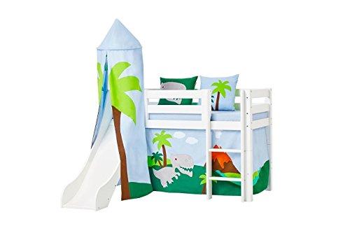 Hoppe bambini lettino dinosauro con scivolo, torre, tenda, materasso, roll ruggine