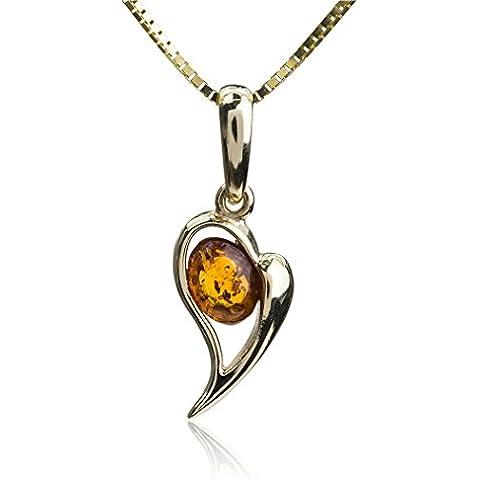 Miel Ámbar Colgante de Corazón Oro amarillo de 14K (Cadena 46cm