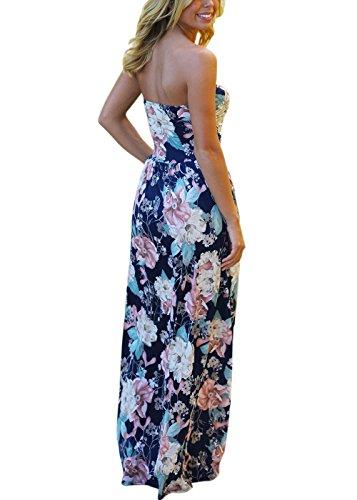 Vestito del bandeau delle donne Boho di stile floreale Stampa della stampa del fiore della spiaggia di Beachwear Dress-Maxi con la tasca Marina Militare