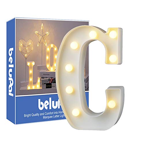 Letras Led Letras Luminosas Decorativas Letras Alphabet Light Luces De Espejo Del Alfabeto A-Z con Luces de LED para Decoración de DIY Wedding Party Dormitorio Decoración de Navidad- Letra C