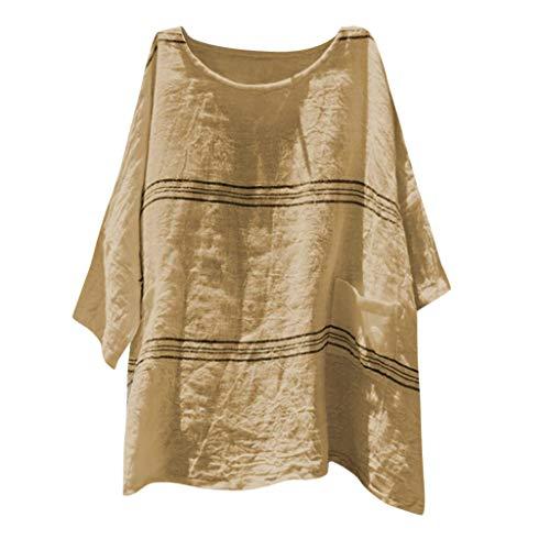 CAOQAOO T-Shirt Rundhals Ausschnitt Damen Sommer Damen Baumwollleinen Bluse Damenmode Lose Baumwolle Leinen Streifen Plus Size TäGlich Freizeithemd Bluse Tops