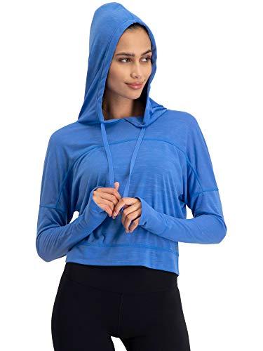 Jolt Gear Dry Fit Crop Tops für Frauen - Langarm Crop Top Hoodie - Damen Workout Pullover Top mit Daumenlöchern, Damen, Robin Blue, Medium
