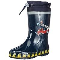 Playshoes Boys Gummistiefel Feuerwehr aus Naturkautschuk, mit Reflektor Rubber Boots