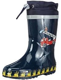 Playshoes Feuerwehr aus Naturkautschuk, mit Reflektor 188590 Jungen Gummistiefel