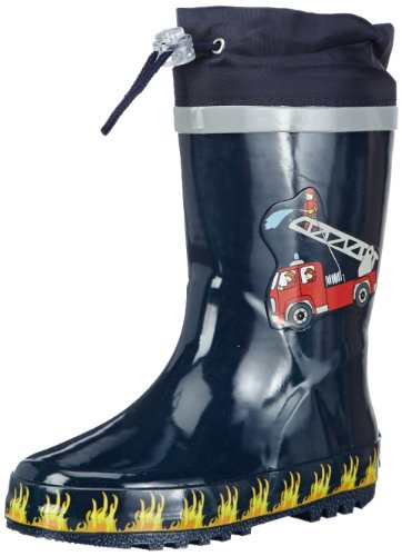 Playshoes Kinder Gummistiefel Feuerwehr