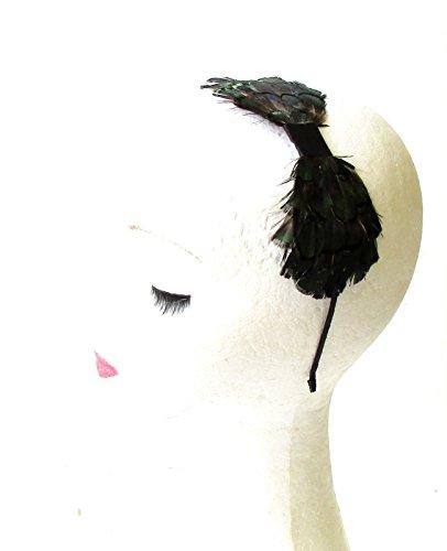 Vert foncé Noir plumes de faisan Lady Amherst Serre-tête bibi 40S 81stgeneration Chaîne 1283 * exclusivement Vendu par Starcrossed Beauty *