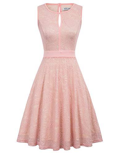 1950er Jahre Frauen Formale Partei ärmellose hohe Taille Swing Kleid knielangen rosa L Prom Kleid Formale Kleider