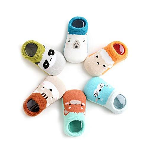 6 Paar Unisex Newborn Knöchelsocken Aus Baumwolle Nette Karikatur-Baby-Socken Nicht Beleg Toddler Gripper Socken Zufällige Styles (Gripper Socken)