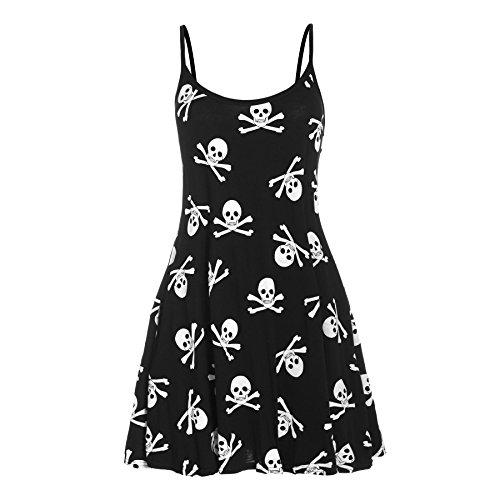 Damen Riemchen Ärmellos Damen Gedruckt Ausgestellt Weste Swing Kleid Top  Übergrößen Skull Bones schwarz und weiß Abend Dinner