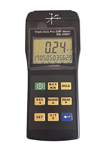 EMI détecteur de champ magnétique Gauss Mètre Mg-2000t Triple Axis Usage professionnel magnétique Interférences à partir d'IRM Machines industrielles et équipements médicaux lignes électriques Appliances EMF Inspections