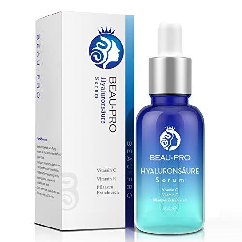 Ácido Hialurónico Vitamina C Facial | Beau-pro Suero Hidratante Molécula Pequeña | Cuidado diurno y nocturno Suero hidratante Aligerar arrugas pecas Adecuado para pieles sensibles 30ml