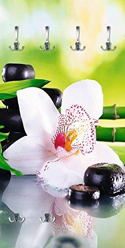 Artland Qualitätsmöbel I Garderobe mit Motiv Holz Bedruckt und Metall Haken Wellness Zen Pflanze Foto Grün F1YQ Spa Steine, Bambus Zweige und weiße Orchidee auf dem Tisch auf natürlichem Hintergrund (Bambus-zweige)