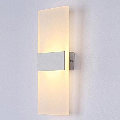 Glighone Wandleuchte LED Innen Modern Weiss Wandlampe Treppenhaus Up and Down Innenleuchten Flurlampe für Wohnzimmer Korridor Schlafzimmer, Warmweiß