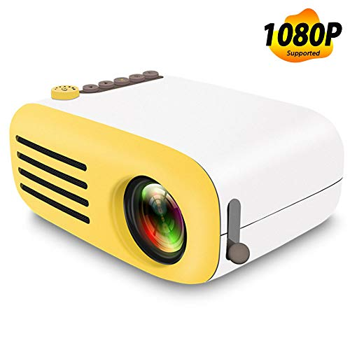 Projektor, Mini-LED-Taschenprojektor Home Beamer Kindergeschenk USB HDMI Video Tragbarer Projektor, 1800 Lumen tragbarer LCD-LED-Projektor Heimkino,Yellow