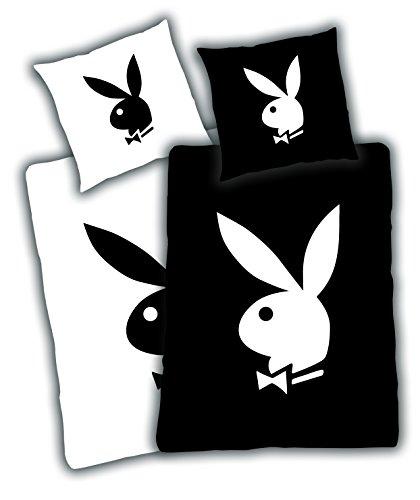Playboy Bettwäsche, Motiv: Playboy Bunny schwarz-weiß, Kopfkissenbezug: 80 x 80 cm mit Bettbezug: 135 x 200 cm, 100% Polyester, Mikrofaser, trocknergeeignet Schwarz-weiß-und-bettwäsche