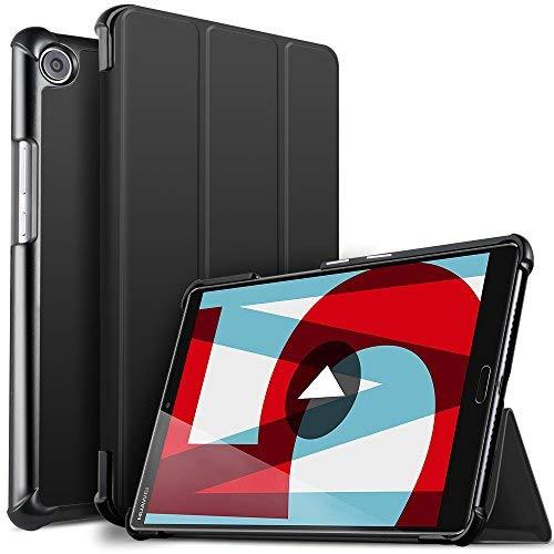 Huawei MediaPad M5 8.4 Hülle, ELTD Ultra Leightweight Flip Hülle mit Ständer Funktion und Eingebautem Magnet Hochwertiges PU Leder Schutzhülle für Huawei MediaPad M5 8.4 Zoll 2018 Modell [Schwarz]