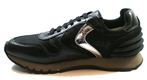 Voile Blanche Femmes Running Sneaker Lacets Julia Power Nappa Laminata Cuir Noir Silver Nero