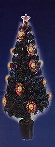 Gifts 4 All Occasions Limited SHATCHI-569 - Árbol de Navidad con luces LED y estrellas (fibra óptica, 122 cm), color verde