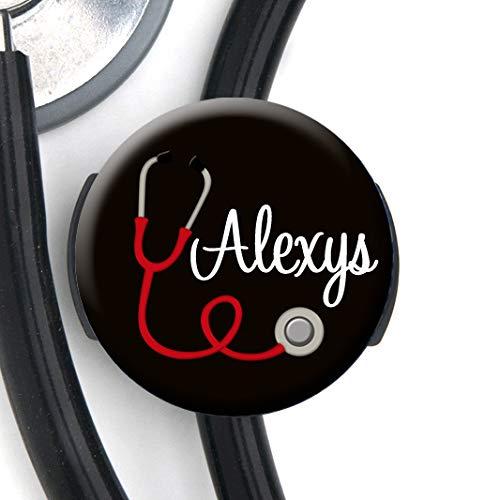Stethoskop-Tag/Stethoskop-Anhänger mit rotem Herz-Stethoskop, schwarzer Hintergrund - Personalisierter Name - Steth ID Tag/Krankenschwester
