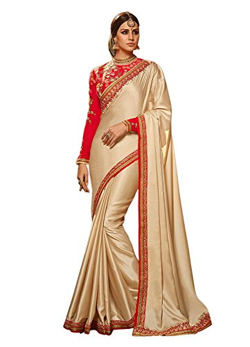 SareePopular Women's Georgette Saree With Blouse Pics New Collection 2018 (97095_Beige Colour_Free...