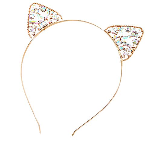 Zerama Frauen-Mädchen-Kristall Katze-Ohr-Haar-Band-Stirnband-Legierung Hair Erwachsene Kinder Kopfschmuck (Ohren Katze Stirnband Strass)