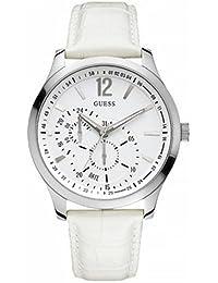 4b5310852710 Guess - W85053G2 - Montre Homme - Quartz Analogique - Cadran Blanc - Bracelet  Cuir Blanc