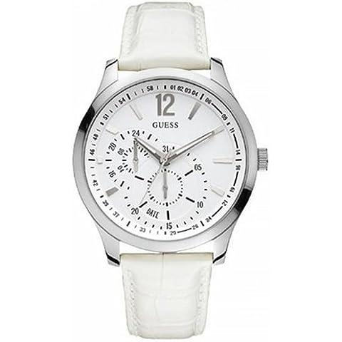 Guess W85053G2 - Reloj analógico de cuarzo para hombre con correa de piel, color blanco