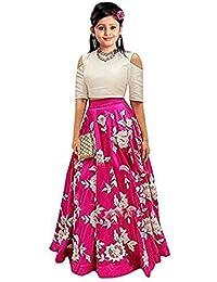 9b26f41ab5743 JOG MAYA FASHION Girl's Banglory Silk Semi-Stitched Lehenga Choli (Pink, 10-