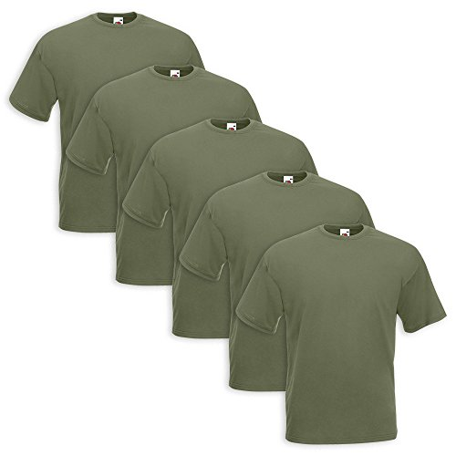 Set 5 T-Shirt Fruit Of The Loom 5 Pezzi Verde Militare